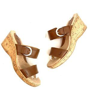 BOC Brown Leather Buckle Wedge Sandals 8